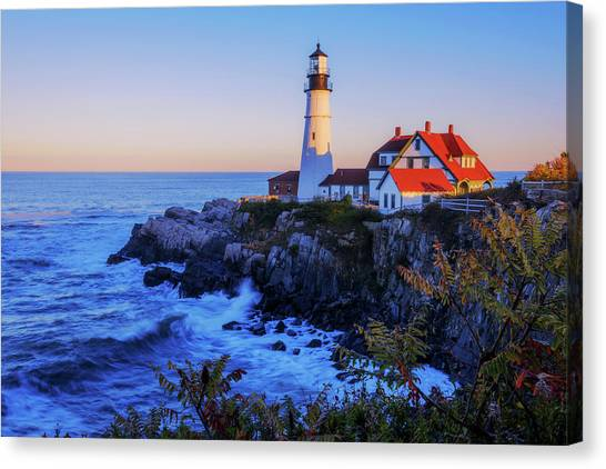 Head Canvas Print - Portland Head Light II by Chad Dutson