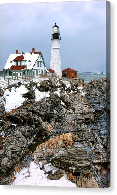 Keeper Canvas Print - Portland Head Light In Winter by Olivier Le Queinec