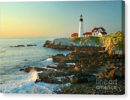 Portland Lighthouse Canvas Print - Portland Head Light No. 2  by Jon Holiday