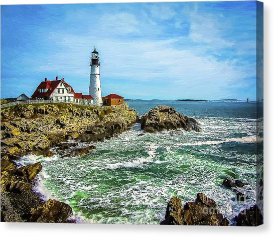 Portland Head Light - Oldest Lighthouse In Maine Canvas Print
