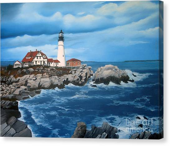 Portland Head Light Canvas Print by Tobi Czumak