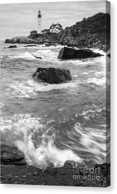 Portland Head Light Under Heavy Skies  -88356 Canvas Print