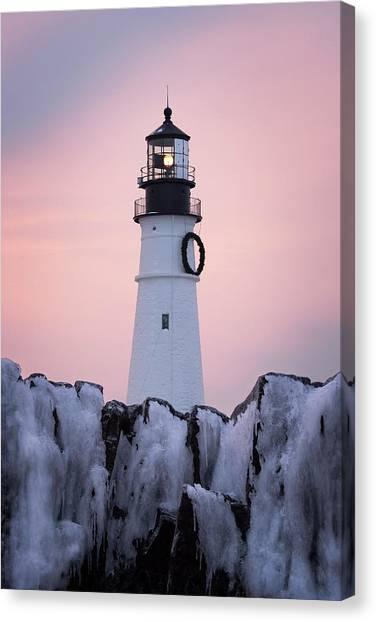 Maine Winter Canvas Print - Portland Head Light - Winter Sunrise by Jeff Bazinet