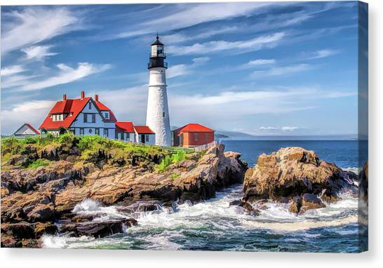 Canvas Print featuring the painting Portland Head Lighthouse by Christopher Arndt