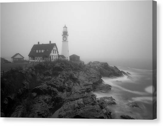 Portland Head Lighthouse In Fog Black And White Canvas Print