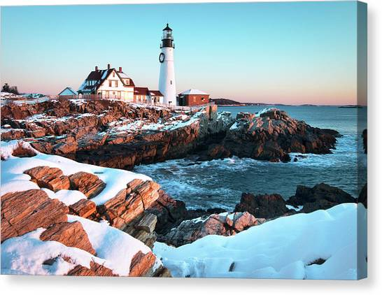 Scenic Canvas Print - Portland Head Lighthouse Winter Sunrise by Eric Gendron