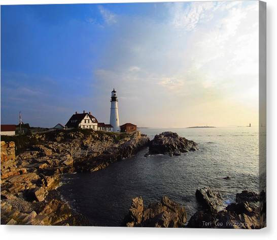Portland Headlight Morning Glow Canvas Print