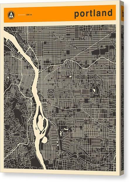 Art Deco Canvas Print - Portland Map by Jazzberry Blue