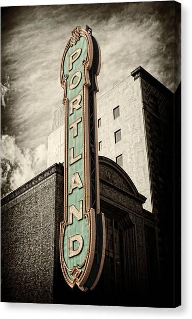 Street Signs Canvas Print - Portland Marquis by Danielle Denham