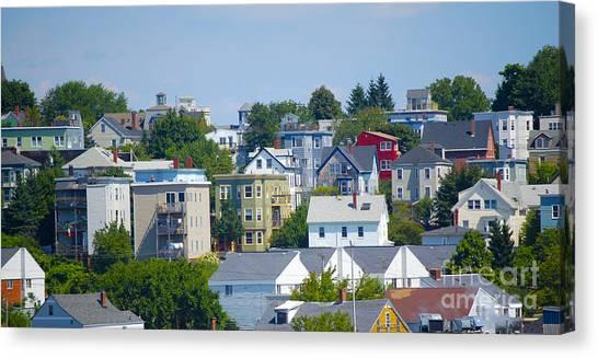 Portland Rooftops Canvas Print by Faith Harron Boudreau