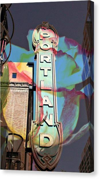 Portland Sign Canvas Print by Cathie Tyler