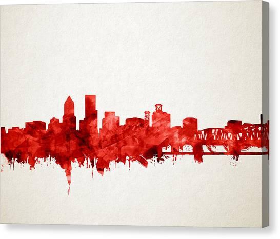 Abstract Digital Canvas Print - Portland Skyline Watercolor 3 by Bekim Art