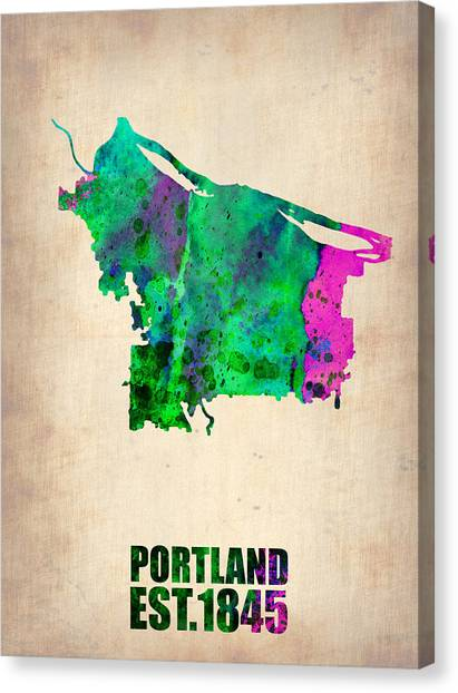 Portland Canvas Print - Portland Watercolor Map by Naxart Studio