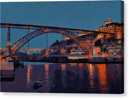 Porto River Douro And Bridge In The Evening Light Canvas Print by Menega Sabidussi