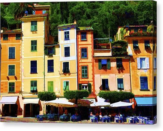 Portofino Cafe Canvas Print - Portofino Bright by Rochelle Berman