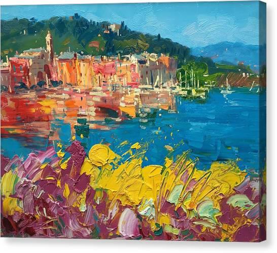 Portofino Cafe Canvas Print - Portofino Harbor With Flowers by Agostino Veroni