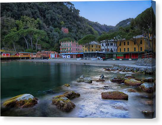 Portofino Mills Valley With Paraggi Bay And Beach Canvas Print