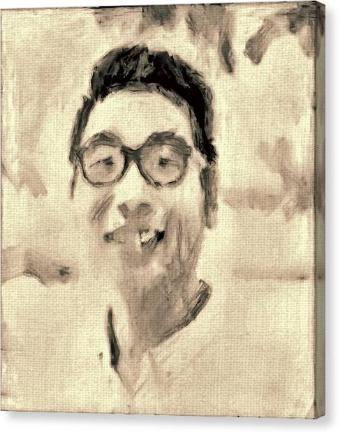 Portrait In Brown Sepia On Canvas In Oil Just The Underpainting Canvas Print by MendyZ