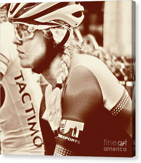 Portrait In Cycling  Canvas Print by Steven Digman