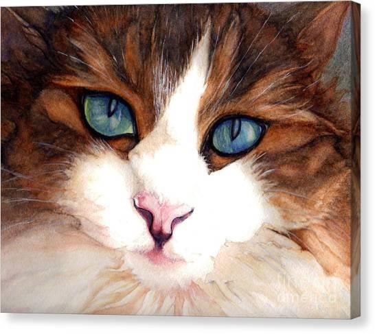 Watercolor Pet Portraits Canvas Print - Portrait Of A Cat by Janine Riley