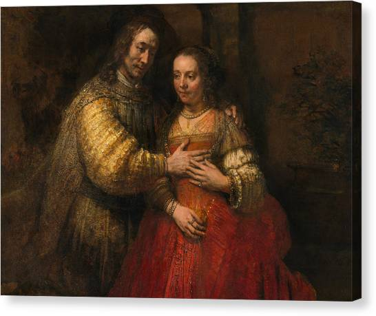 Jewish Painter Canvas Print - Portrait Of A Couple As Figures From The Old Testament by Rembrandt