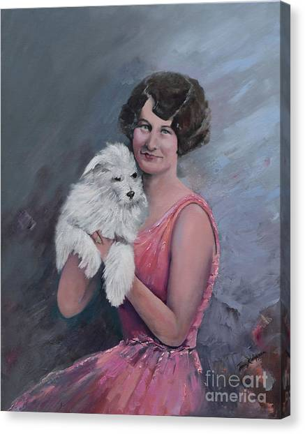 Maggie And Caruso -portrait Of A Flapper Girl Canvas Print