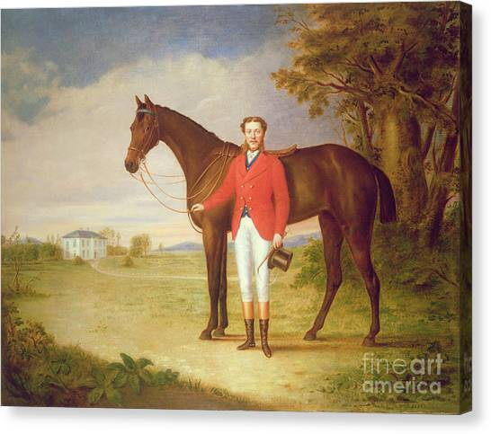 Gent Canvas Print - Portrait Of A Gentleman With His Horse by English School