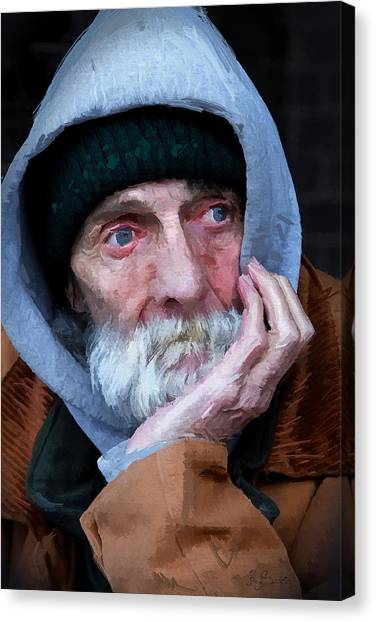 Portrait Of A Homeless Man Canvas Print