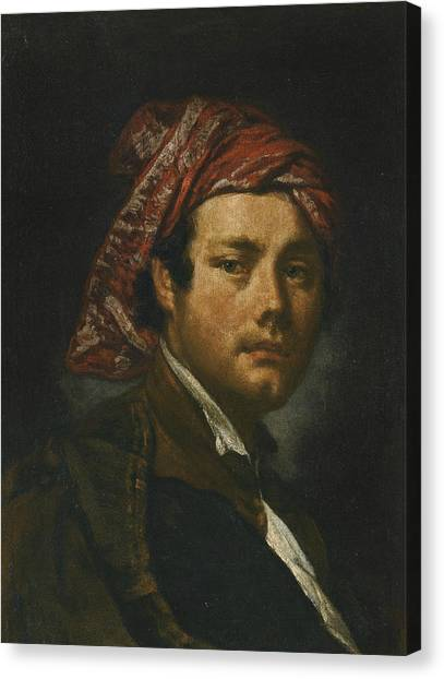 Rococo Art Canvas Print - Portrait Of A Man, Bust-length, Wearing A Red Headscarf by Fra Galgario