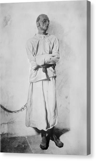 Portrait Of A Mentally Insane Man Canvas Print by Everett