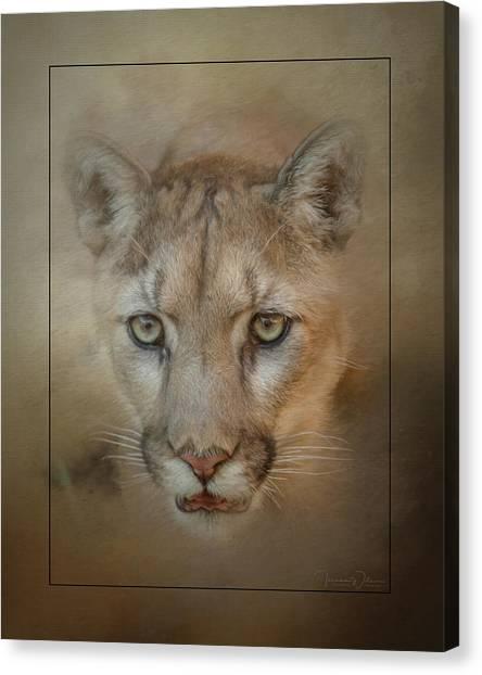 Portrait Of A Mountain Lion Canvas Print