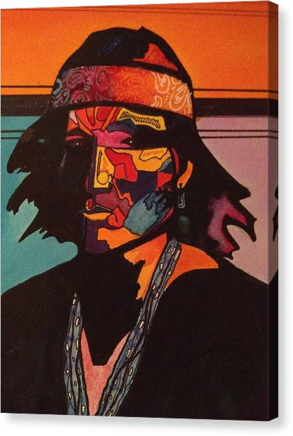 Portrait Of A Native American Indian Canvas Print by Jeff Knott