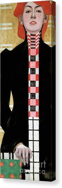 Chequered Canvas Print - Portrait Of A Woman by Egon Schiele