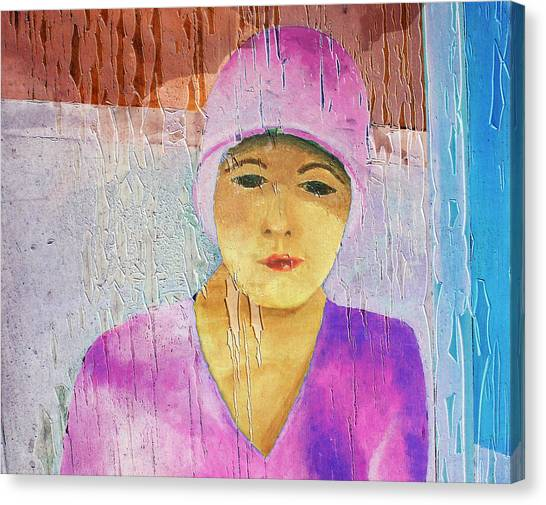 Portrait Of A Woman On A Downtown Wall Canvas Print