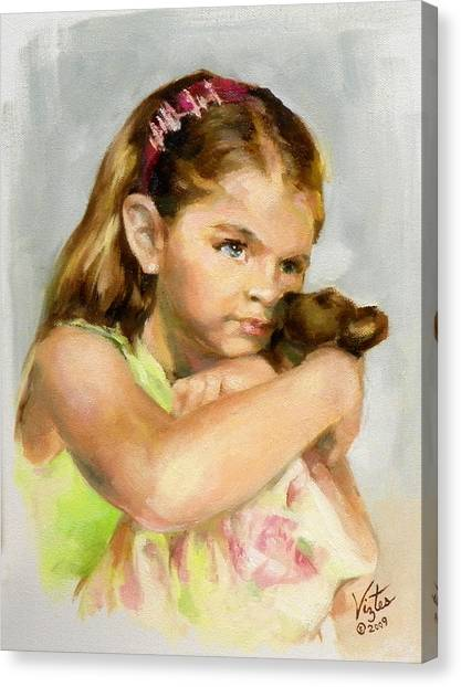 Portrait Of A Young Girl With Toy Bear Canvas Print by Liz Viztes