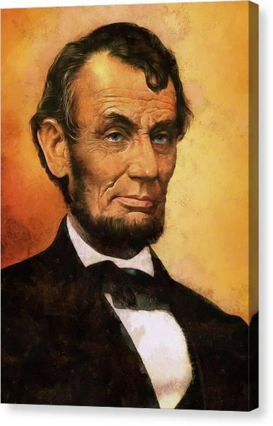Us Civil War Canvas Print - Portrait Of Abraham Lincoln by Charmaine Zoe