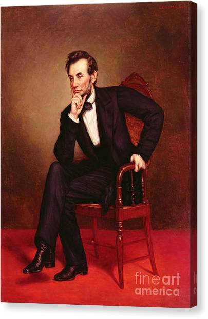 Chin Canvas Print - Portrait Of Abraham Lincoln by George Peter Alexander Healy