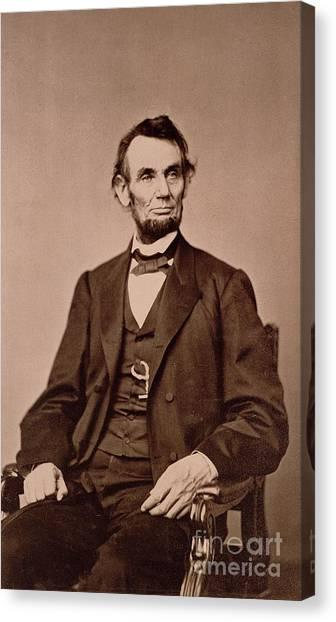 Republican Presidents Canvas Print - Portrait Of Abraham Lincoln by Mathew Brady