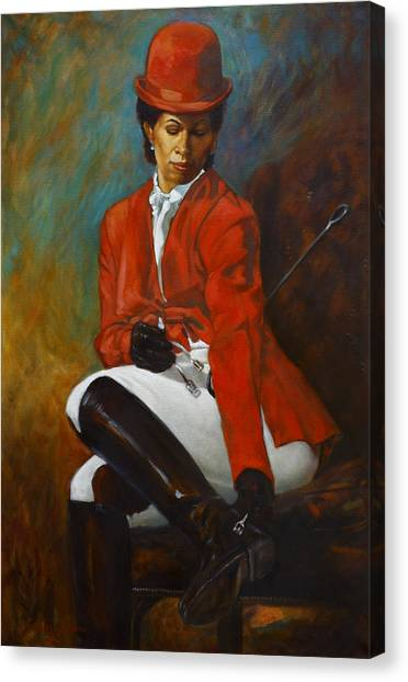 Portrait Of An Equestrian Canvas Print