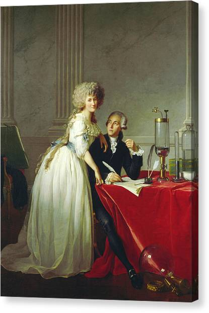 Neoclassical Art Canvas Print - Portrait Of Antoine-laurent Lavoisier And His Wife by Jacques-Louis David