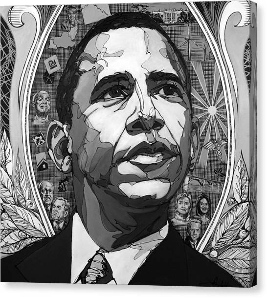 Portrait Of Barak Obama Canvas Print
