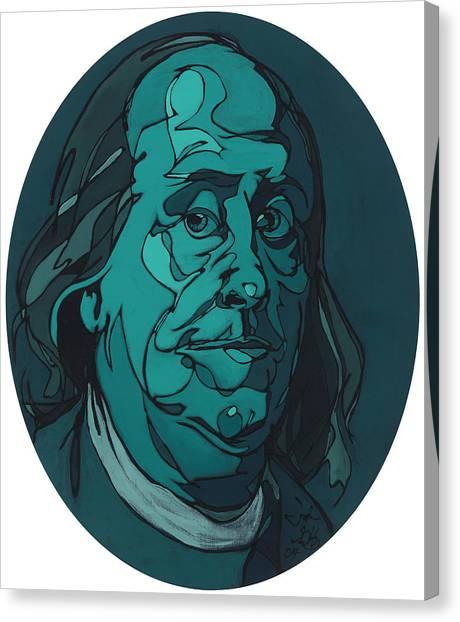 Portrait Of Benjamin Franklin Canvas Print