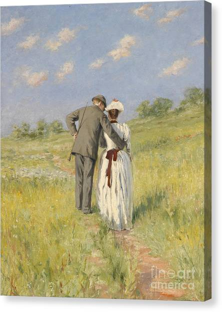 Field Canvas Print - Portrait Of Captain William Holmes And Mary Shafter Mckitterick by American School