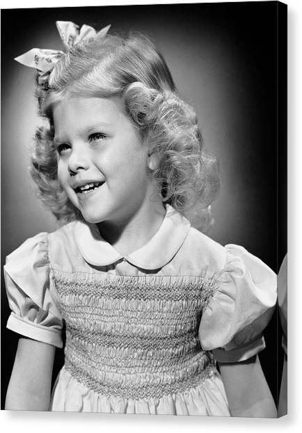 Portrait Of Girl Indoor Canvas Print by George Marks