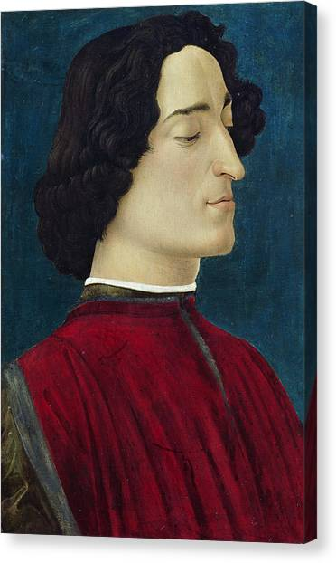 Botticelli Canvas Print - Portrait Of Giuliano De' Medici by Sandro Botticelli