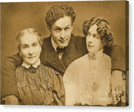 Jewish Artist Canvas Print - Portrait Of Harry Houdini With Is Mother And Wife by American School