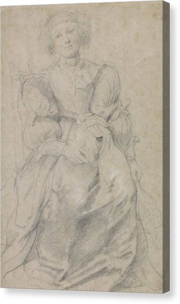 Baroque Canvas Print - Portrait Of Helene Fourment by Peter Paul Rubens