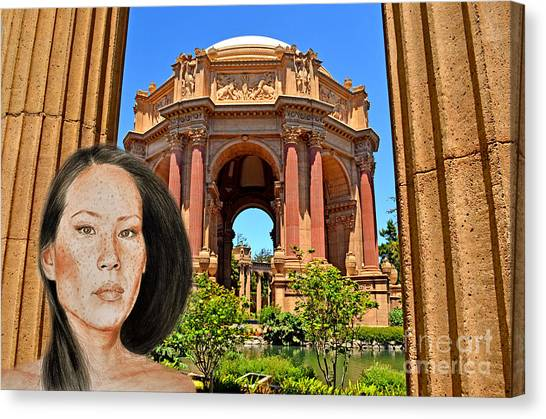 Lucy Liu Canvas Print - Portrait Of Lucy Liu At The Palace Of Fine Arts by Jim Fitzpatrick