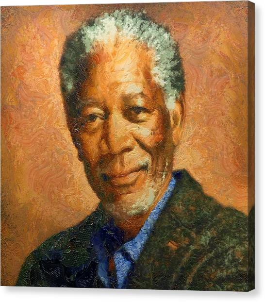 Portrait Of Morgan Freeman Canvas Print
