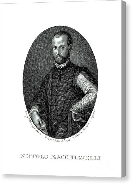 Political Science Canvas Print - Portrait Of Niccolo Machiavelli  by Agnolo Bronzino